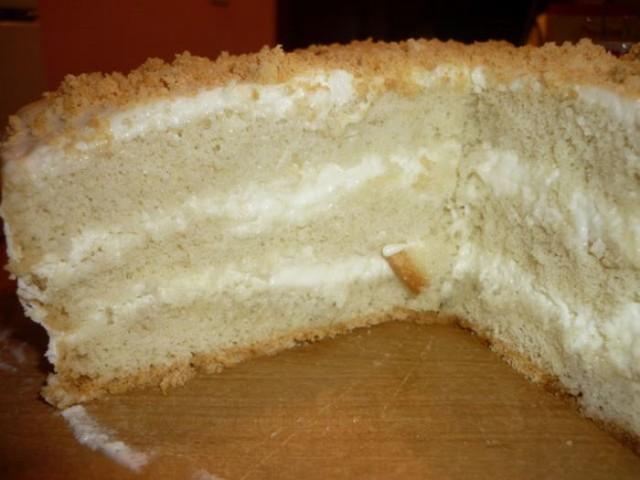 Рецепт торта бисквита с сметанным кремом